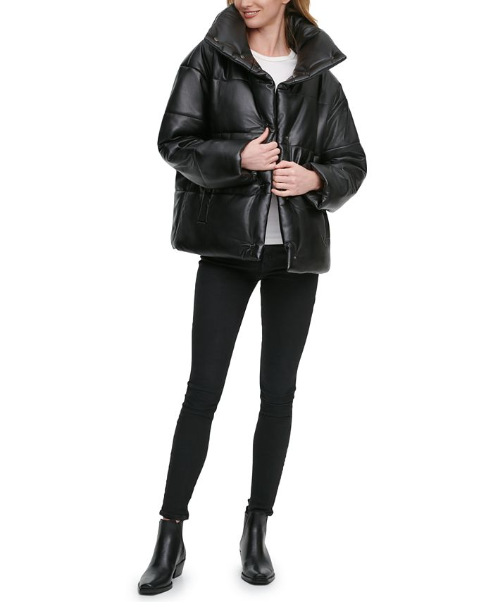 DKNY - Oversized Faux-Leather Puffer Coat