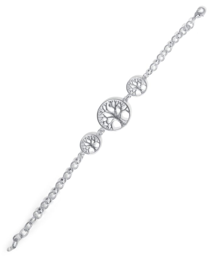 Macy's Fine Silver Plate Triple Tree Of Life Bracelet & Reviews - Bracelets - Jewelry & Watches - Macy's