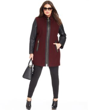MICHAEL Michael Kors Plus Size Coat, Wool-Blend Mixed-Media Colorblock