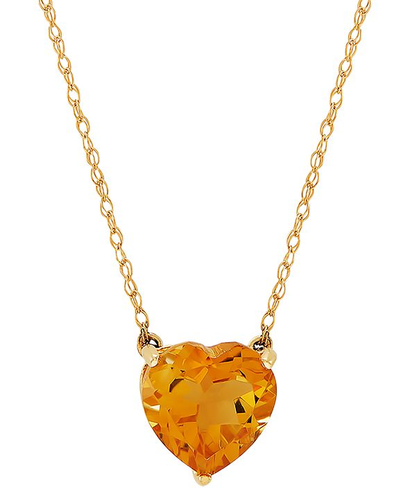 "Macy's Gemstone Heart 18"" Pendant Necklace in 10k Gold"