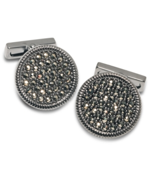 Kenneth Cole New York Cufflinks, Brushed Gunmetal Crystal Cuff Links