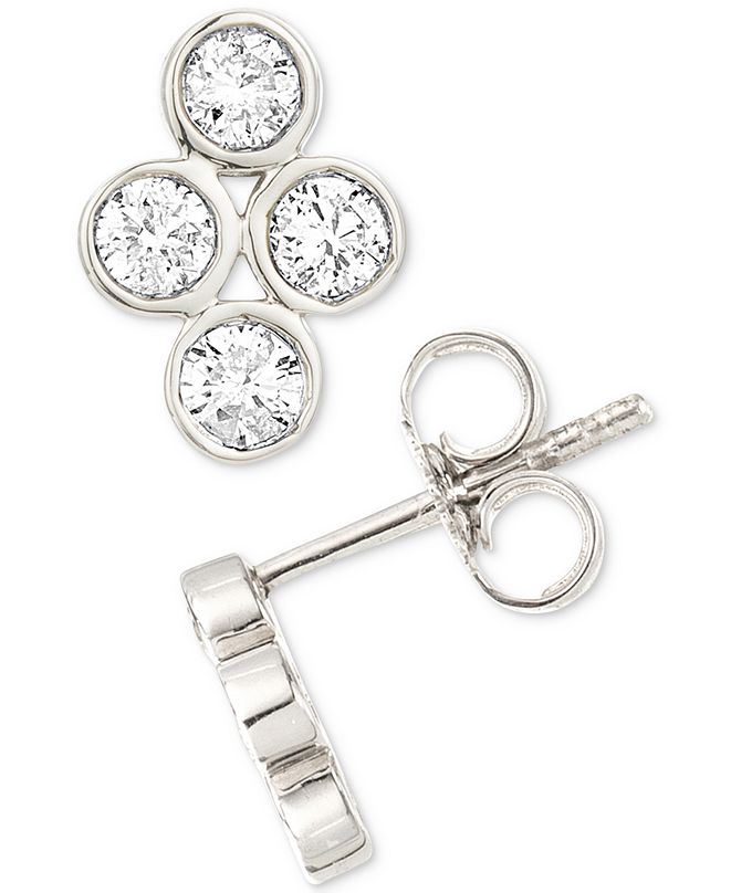 Elsie May Diamond Bezel Stud Earrings (1/4 ct. t.w.) in Sterling Silver