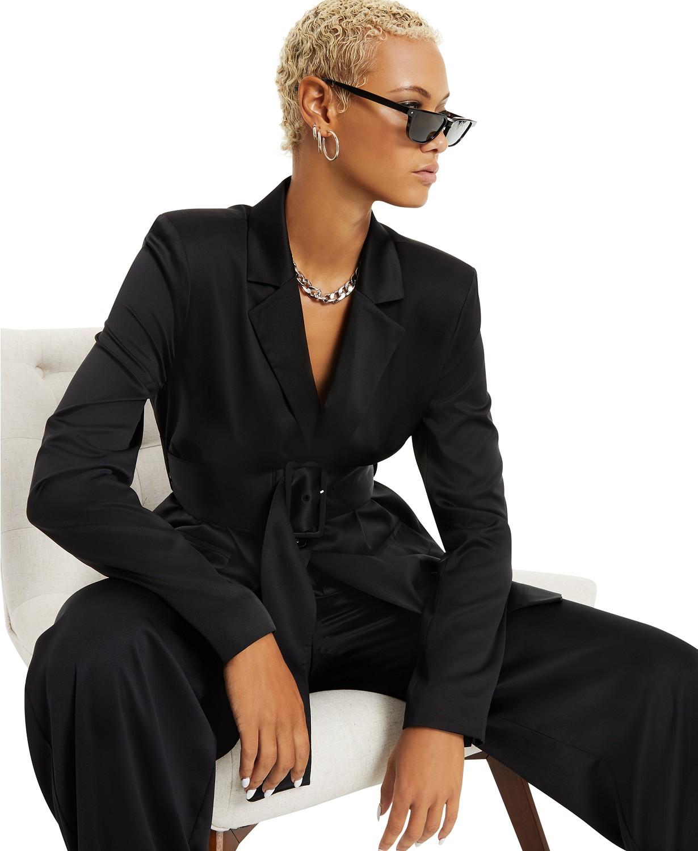Danielle Bernstein Belted Satin Blazer, Created for Macy's