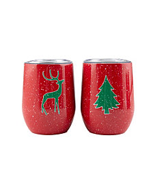 Thirstystone by Cambridge 2 Pack Of 12 Oz Holiday Wine Tumblers