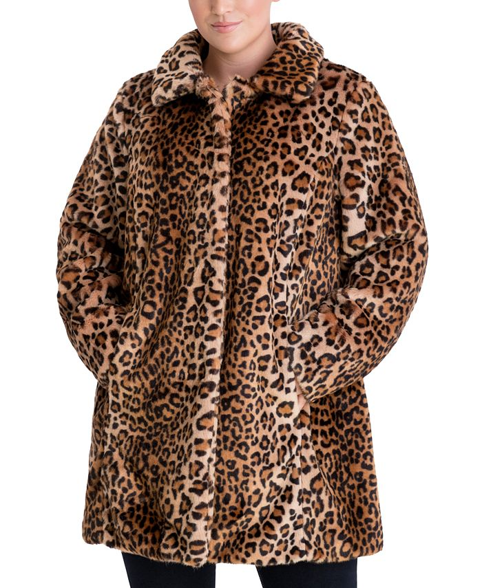 Anne Klein - Plus Size Leopard-Print Faux-Fur Coat