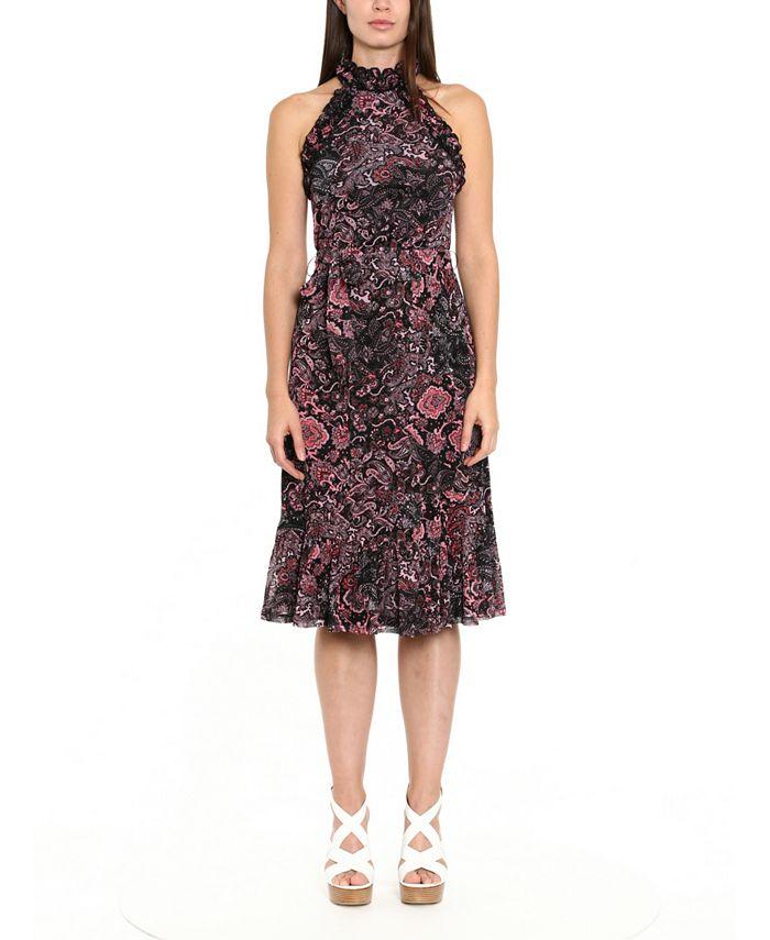 Michael Kors - Paisley-Print Ruffle-Neck Midi Dress