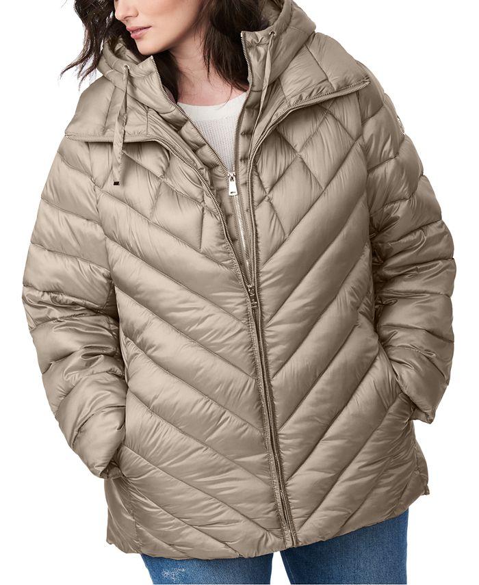 Bernardo - Plus Size Bibbed Hooded Packable Puffer Coat