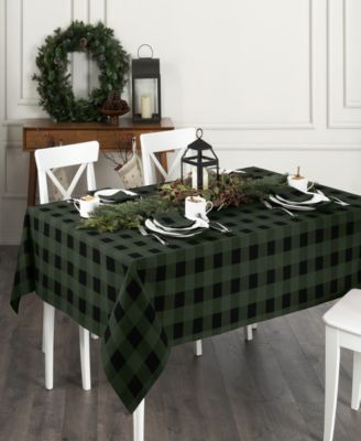 "Farmhouse Living Holiday Buffalo Check Tablecloth  60 x 84"""