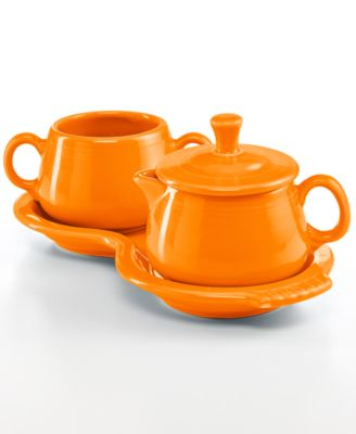 Fiesta Tangerine Sugar and Creamer Set