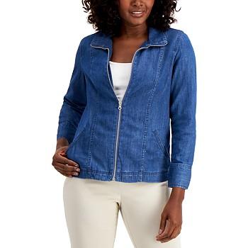 Karen Scott Petite Denim Jacket (Medium Wash or Light Wash)