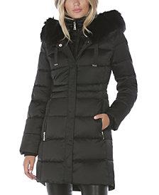 Tahari Faux-Fur Trim Hooded Puffer Coat