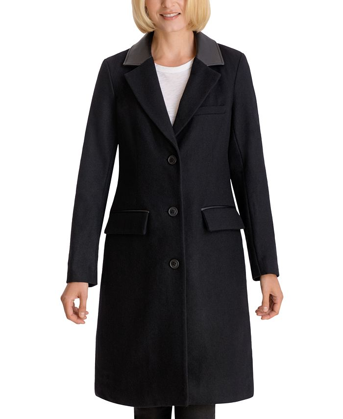 BCBGeneration - Faux-Leather-Collar Reefer Coat