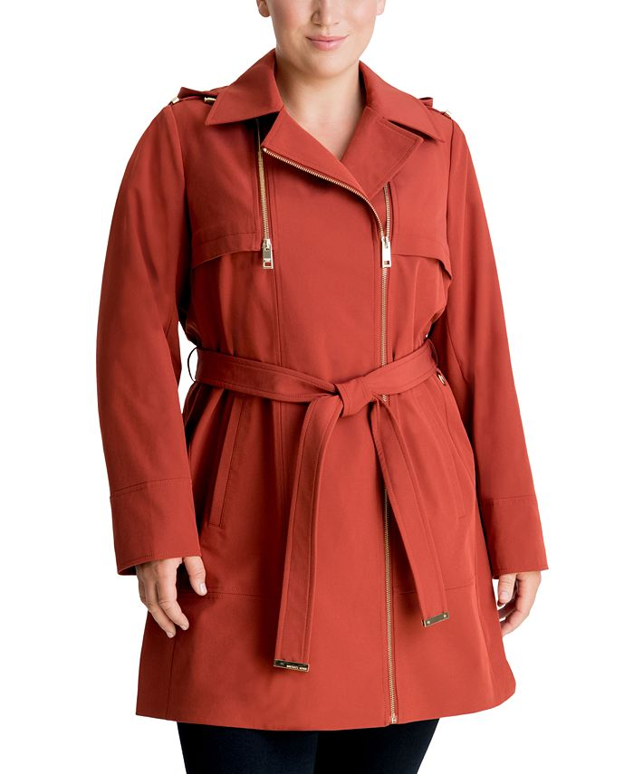 Michael Kors - Plus Size Hooded Belted Trench Coat