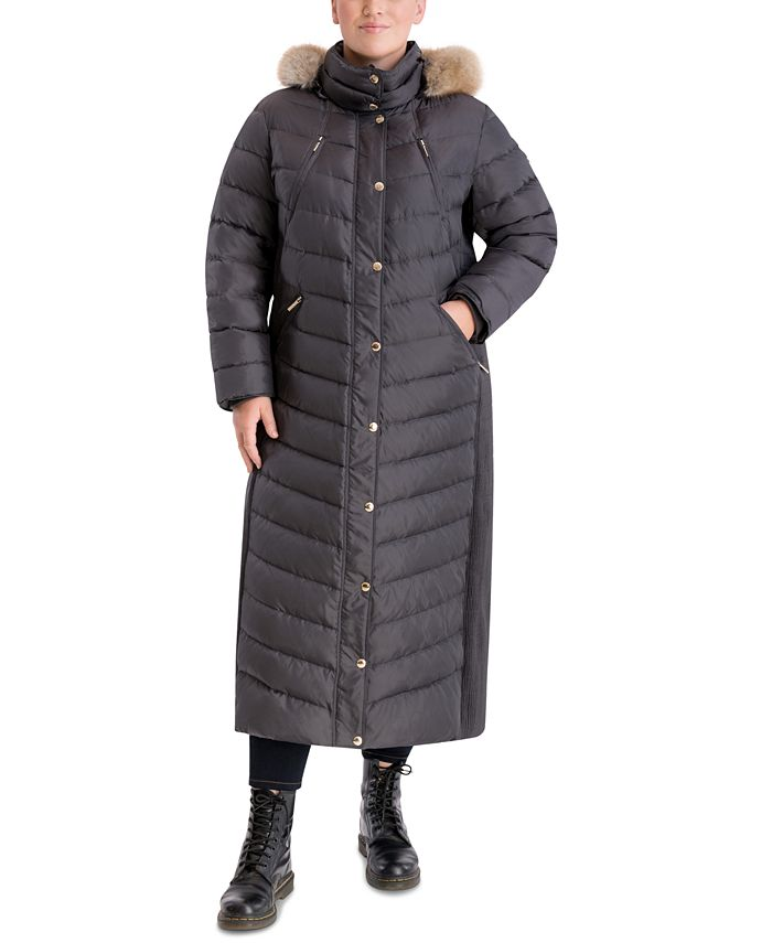 Michael Kors - Plus Size Maxi Faux-Fur Trim Hooded Puffer Coat