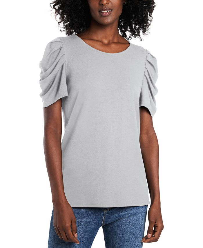 CeCe - Ruched-Sleeve Top