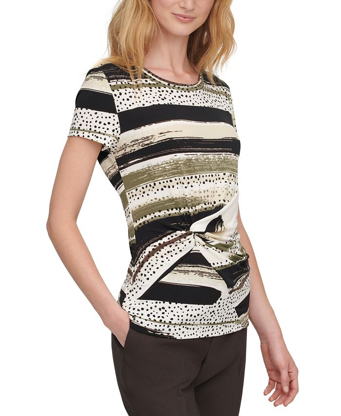 DKNY - Printed Knot-Front Top