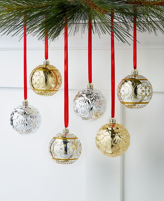 Holiday Lane Shine Bright Gold and Silver Shatterproof Ornaments, Set of 6, Created for Macy's