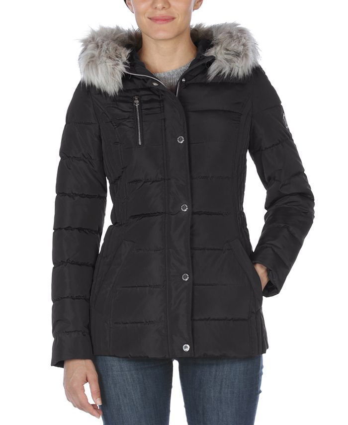 Nautica - Faux-Fur Trim Hooded Puffer Coat