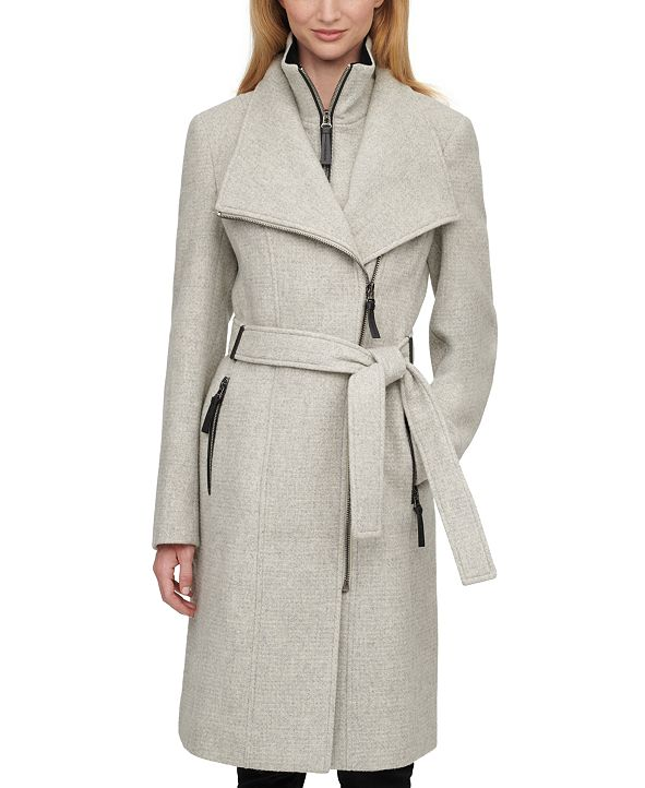 Calvin Klein Faux-Leather Trim Belted Coat, Created for Macy's