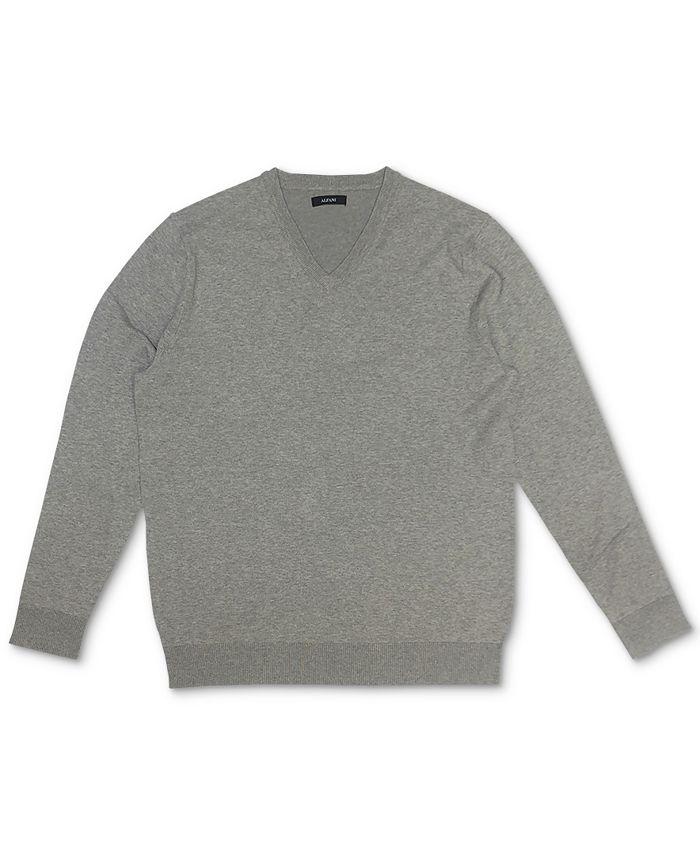 Alfani - Men's Solid V-Neck Cotton Sweater