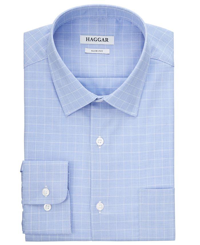 Haggar - Men's Comfort Stretch Blue-Check Dress Shirt