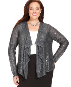 Alfani Plus Size Sweater, Long-sleeve Draped Sequin Cardigan -...