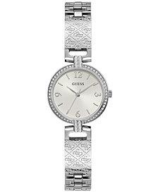 GUESS Women's Logo-Textured Stainless Steel Bracelet Watch 27mm