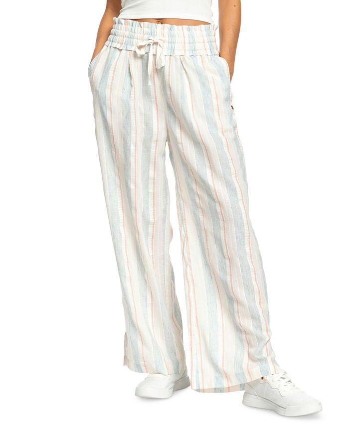 Roxy - Juniors' Little Loving Striped Wide-Leg Pants