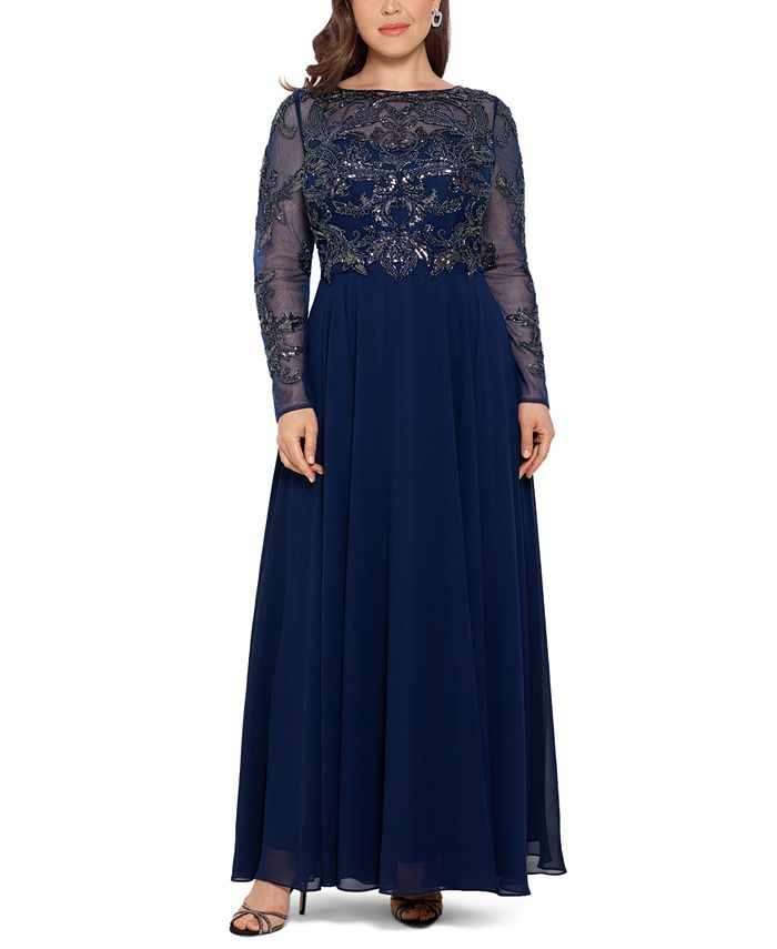 XSCAPE - Plus Size Embellished Illusion Gown