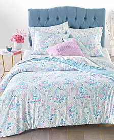 Whim by Martha Stewart Collection Reversible 3-Pc. Watercolor Damask-Print Bedding Collection, Created for Macy's