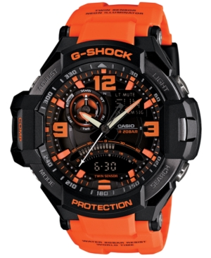 G-Shock Men's Analog-Digital Orange Resin Strap Watch 51x52mm GA1000-4A