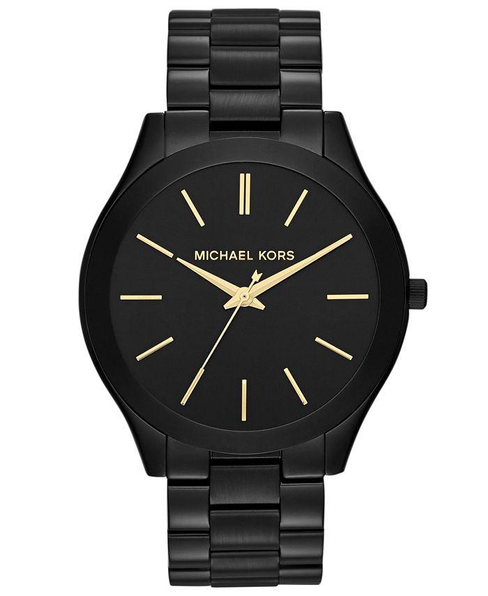 Michael Kors - Women's Slim Runway Black-Tone Stainless Steel Bracelet Watch 42mm MK3221