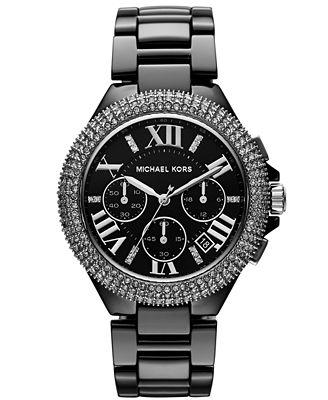 Michael Kors Women's Chronograph Camille Black Ceramic ... Michael Kors Watches Black Ceramic