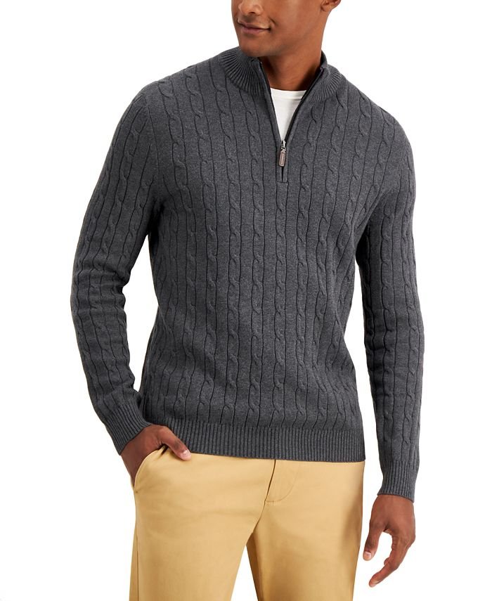 Club Room - Men's Cable-Knit Quarter-Zip Cotton Sweater