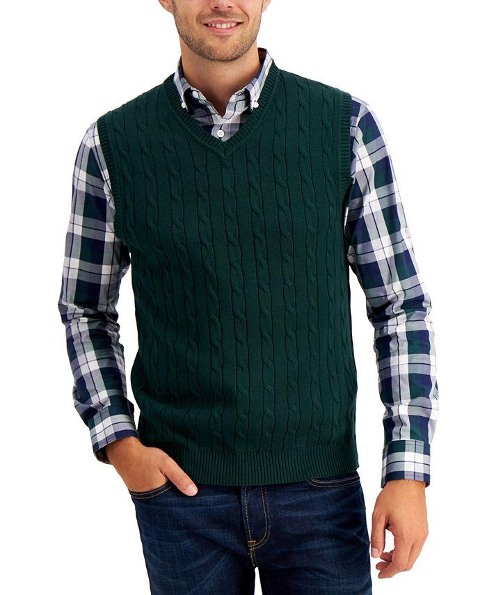 Club Room - Men's Cable-Knit Sweater Cotton Vest
