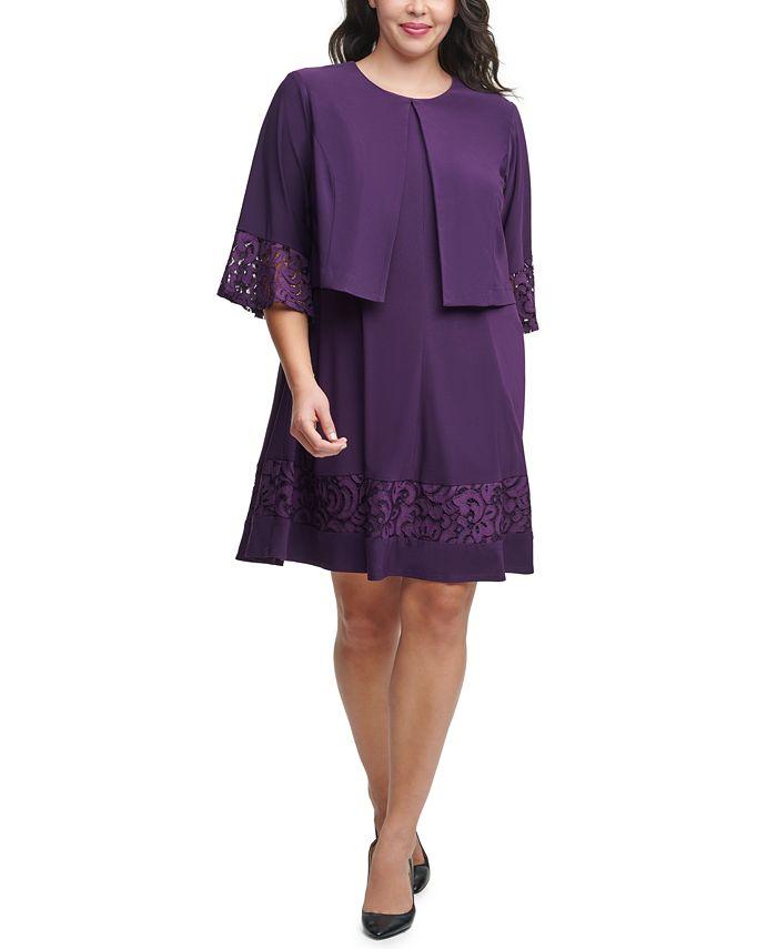 Jessica Howard - Plus Size Lace-Trim Dress & Bell-Sleeve Jacket