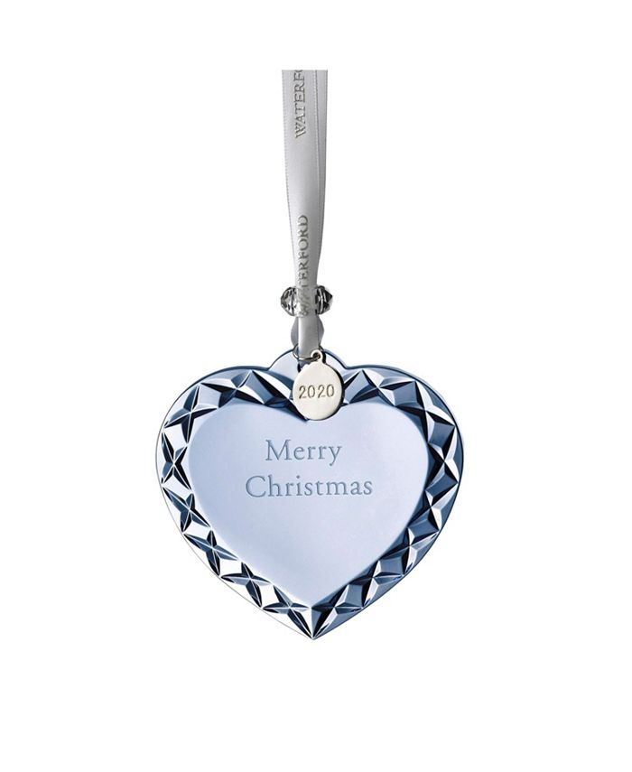 """Waterford - Heart Ornament """"Merry Christmas""""  3"""" Topaz Ice NEW COLORWAY"""