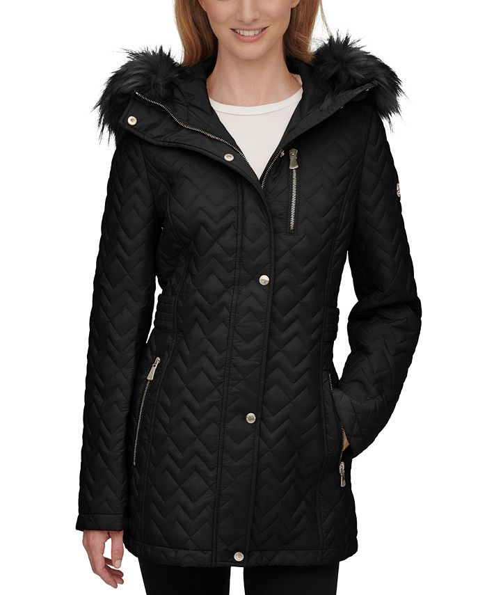 Calvin Klein - Faux-Fur-Trim Hooded Quilted Coat