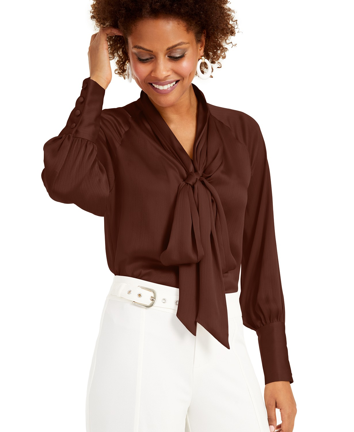 INC International Concepts INC Tie-Neck Satin Blouse, Created for Macy's