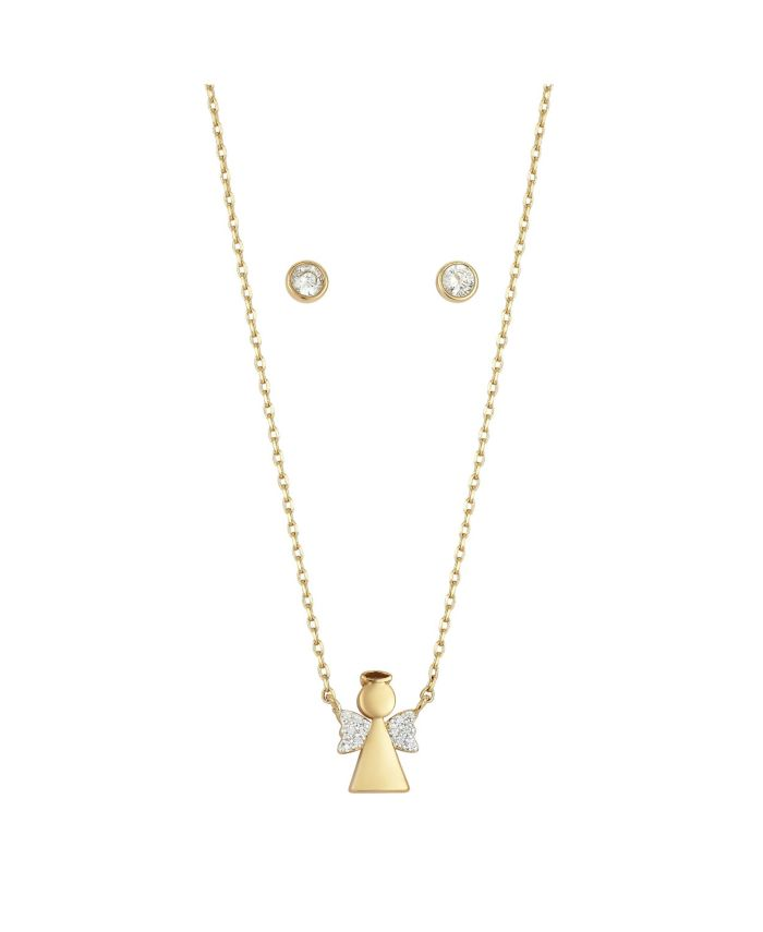 Unwritten Fine Silver Plated Cubic Zirconia Angel Necklace and Earrings Set in Gold & Reviews - Fashion Jewelry - Jewelry & Watches - Macy's