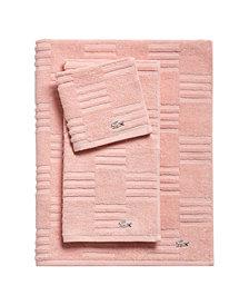 CLOSEOUT! Lacoste Sculpted Squares Bath Towel Collection