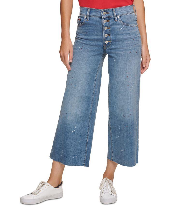 Tommy Jeans - Juniors' Splatter Crop Wide-Leg Jeans