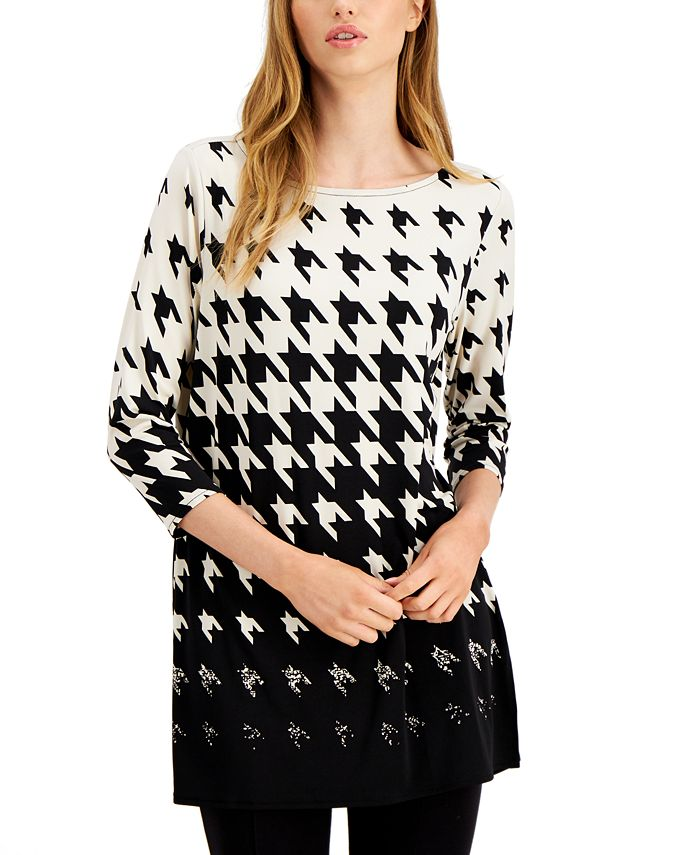 Alfani - Ombre Houndstooth-Print Tunic Top