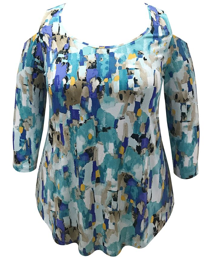 JM Collection - Plus Size Abstract-Print Cold-Shoulder Top