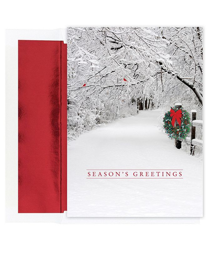 Masterpiece Cards Snow Scene Holiday Boxed Cards, 18 Cards and 18 Foil Lined Envelopes
