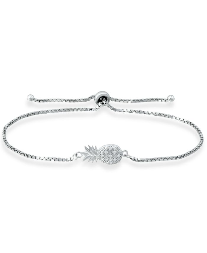 Giani Bernini Cubic Zirconia Pineapple Bolo Bracelet in Sterling Silver, Created for Macy's & Reviews - Bracelets - Jewelry & Watches - Macy's