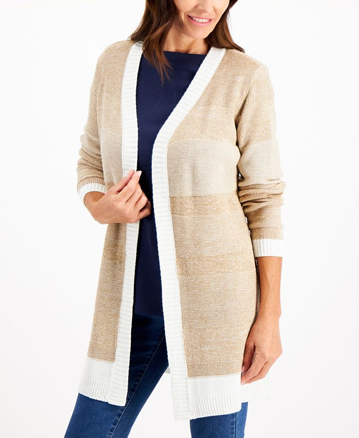 Karen Scott - Turbo Textured Open-Front Cardigan