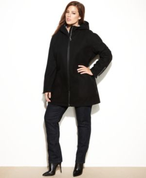 Calvin Klein Plus Size Coat, Hooded Wool-Blend