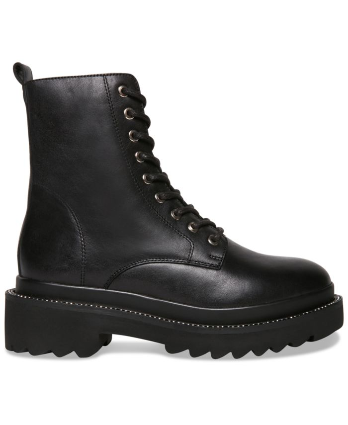 Steve Madden Women's Graham Rhinestone-Studded Lug Sole Combat Booties & Reviews - Boots - Shoes - Macy's