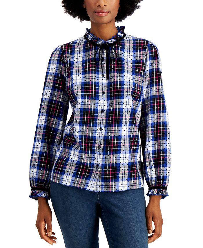 Charter Club - Petite Cotton Plaid Ruffled-Neck Shirt
